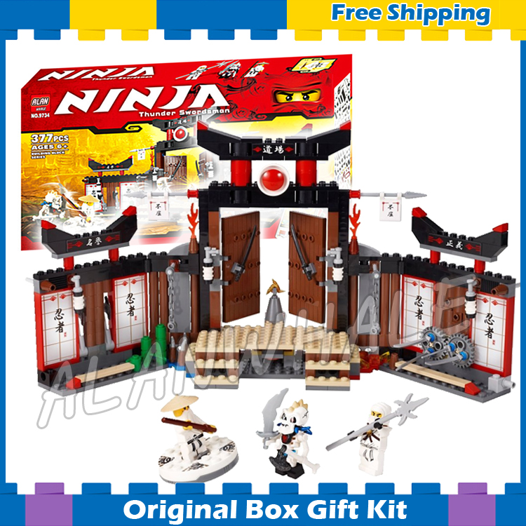 377pcs Bela 9734 Ninja Spinjitzu Dojo Building Blocks Model Toys Sensei Wu Zane Bricks Compatible With lego