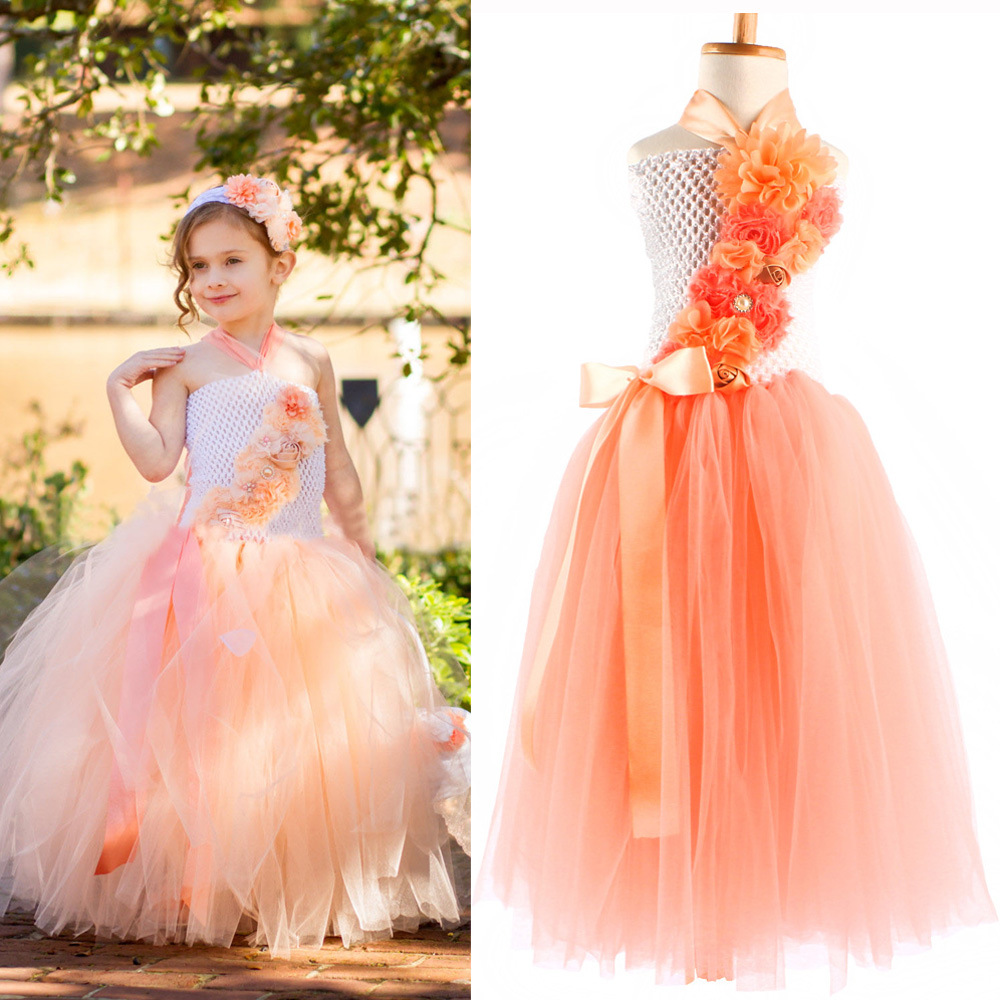 Girls Dress Kids Cloth Orange Crochet Long Flower Tutu Ball Gown With Ribbon Bow And Headband Children Wedding Party Tutus