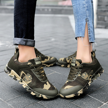 Autumn Spring Men's Women's Running Shoes Unisex Sport Outdoor Sneakers Breathable Women Camouflage green Walking Jogging Shoes 5