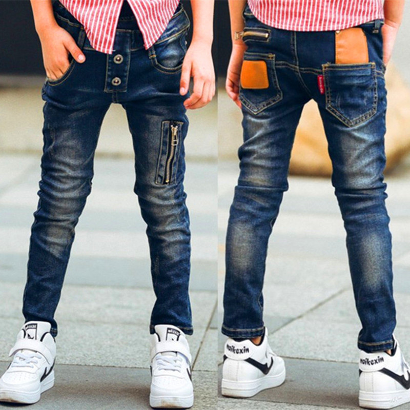 Male child jeans spring child trousers children's clothing fashion wild boy pants for: 3 4 5 6 7 8 9 10 11 12 13 14 years old
