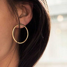 Sale 1Pair Silvery Golden New Simple Korean Big Round Circle Earrings For Women Girls Graceful pair of graceful floral circle anklets for women