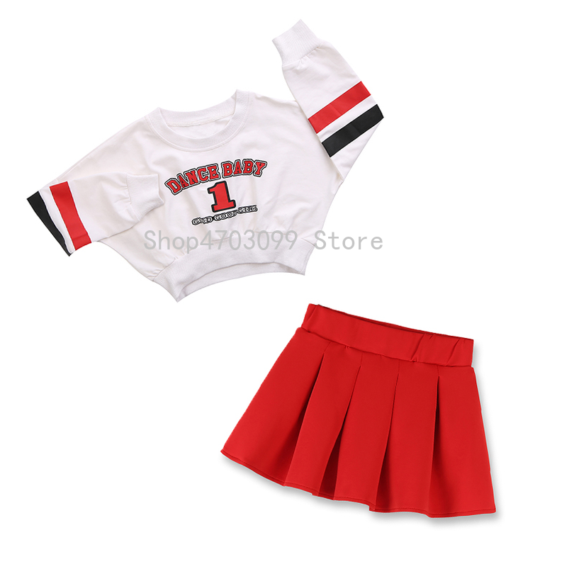 84bbd9688e2 Jazz Dance Costumes For Girls Cheerleading Costume Children Hip Hop Kids  Street Dance Clothing Long Sleeve Red