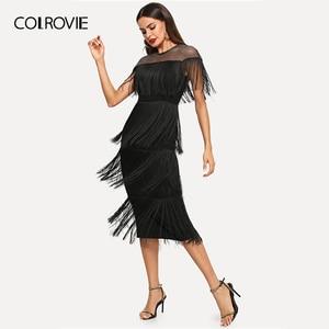 Image 3 - COLROVIE czarne kabaretki Mesh jarzmo warstwowe frędzle Bodycon Sexy sukienka kobiety 2019 lato Slim Fit ołówek biurowa, damska długie sukienki