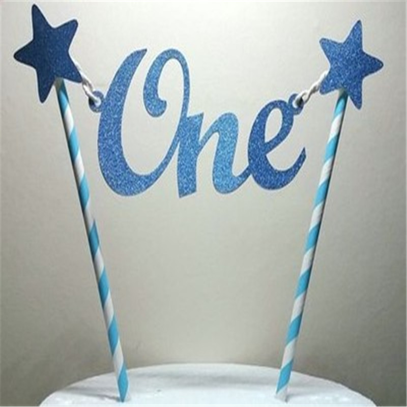Baby 1st Birthday Cake Topper One Cake Toppers DIY Colorful Baby Shower Smash Cake Decorations Child Kid Birthday Party Supplies