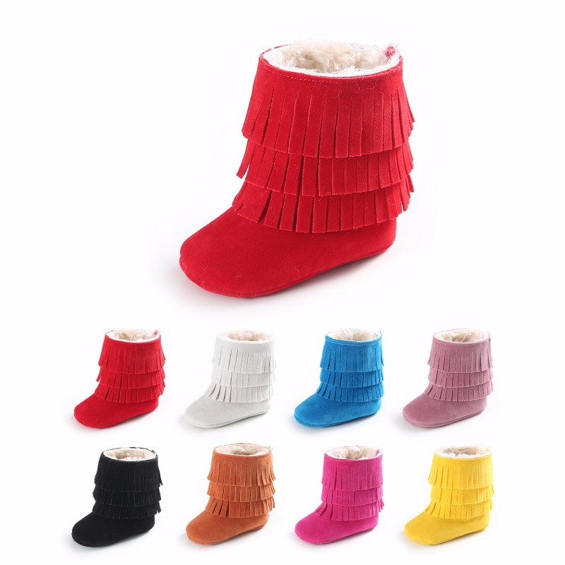 2018 New Winter boots 3 layer fringe Pu suede leather with fur Baby shoes first walkers Newborn Keep Warm soft sole boots