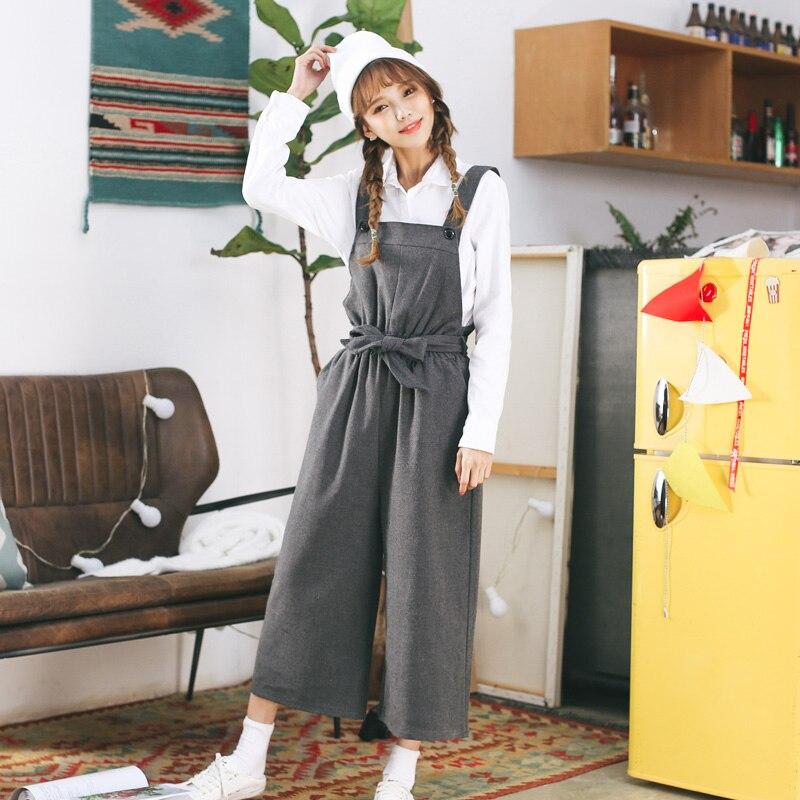 100% Wahr 2018 Frauen Harajuku Frühling Lose Koreanische Breite Bein Lässig Hohe Taille Bodysuit Weibliche Kawaii Playsuits Und Overalls Für Frauen GläNzende OberfläChe