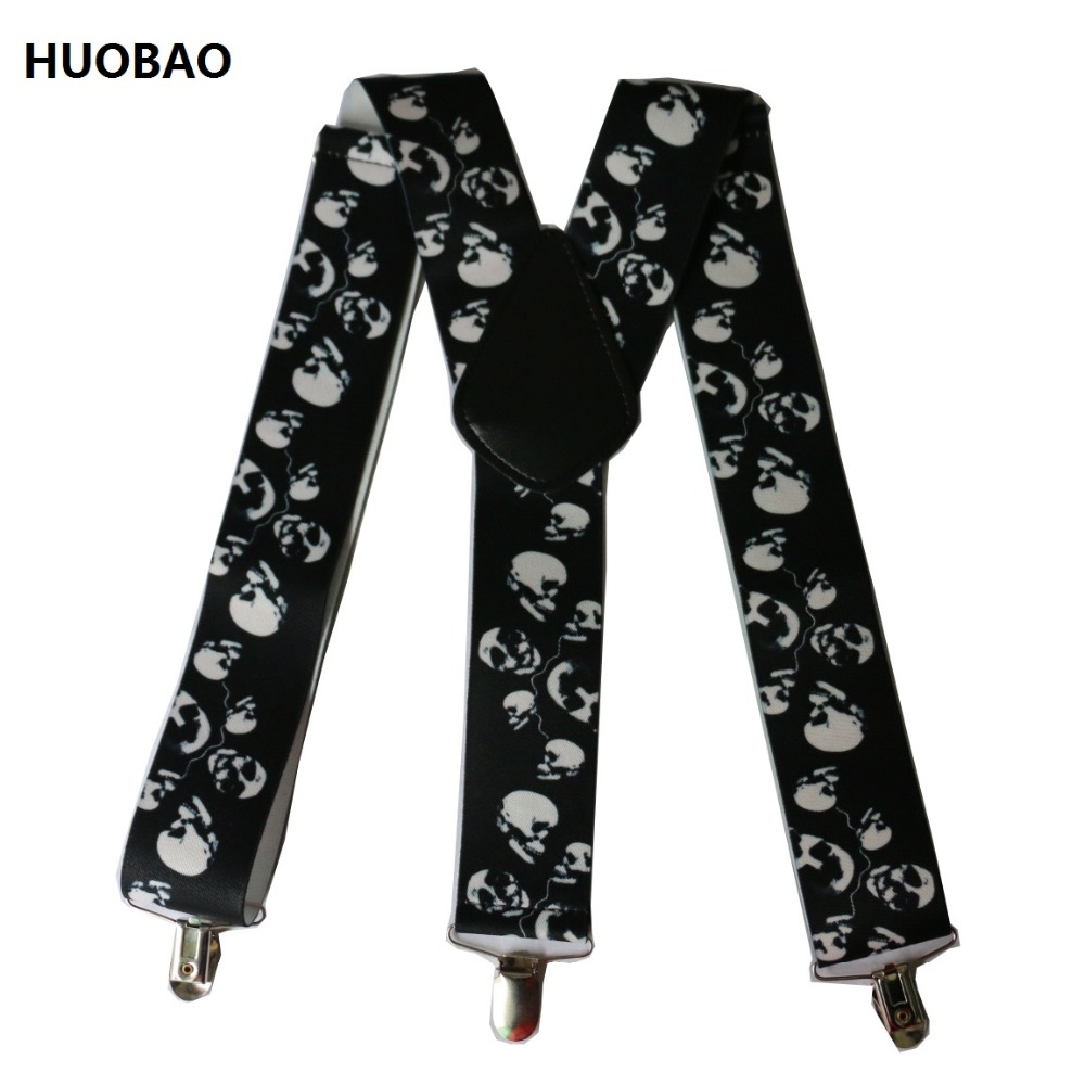 HUOBAO New Black Punk 5cm Wide Skull Suspenders For Mens