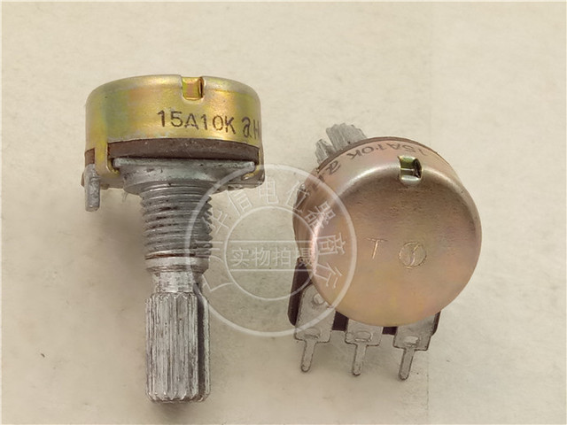 Original new 100% Japan import 16 type single couplet potentiometer 15A10K axis long 20MM flower axis A10K (SWITCH)