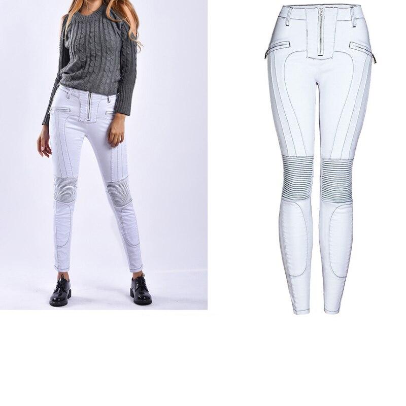 White Jeans Woman Moto Jeans Biker Trouser Back Zipper Jeans Elasticity Pleated Stretch Skinny Denim Pencil Pants
