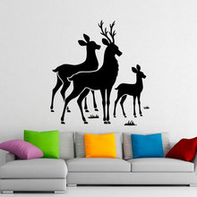 Deer Family Wall Decals Antlers Vinyl Stickers Wild Animals Interior Home Design Living Room Art Murals Window Wallpaper 3565 цена и фото