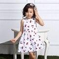 Vestido del Bebé 2016 Nuevo Verano Los Niños Adolescentes Moda Sin Mangas Ocasional Lindo de la Cereza de Impresión de Punto de Algodón Vestidos de Fiesta Sin Respaldo