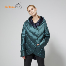 Barbeaupeak Casual Duck Down Jackets Women Full Sleeve Thin Solid Woven Green Gold Autumn Winter Warm Female Down Jacket Coats