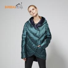 Barbeaupeak Casual Duck Down Jackets Γυναίκες Full Sleeve Thin Solid Υφαντά Πράσινο Χρυσό Φθινόπωρο Χειμώνας Ζεστό Γυναικεία Μπουφάν Μπουφάν