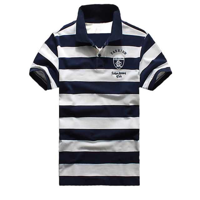 2018 NEW Summer men Striped   Polo   Shirts cotton bagde patchwork Brand Clothing Man's Wear Short Sleeve Slim Clothes