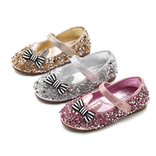 Spring Autumn New Girls Shoes bow-knot Sequin Bling Bling Princess Shoes Kids Shoes for Girl Dance Party Childern Shoes 3-14T