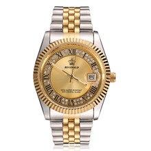 원래 새로운 2020 REGINALD 석영 시계 남자 18k 옐로우 골드 플루트 베젤 진주 다이아몬드 다이얼 전체 스테인레스 스틸 빛나는 시계