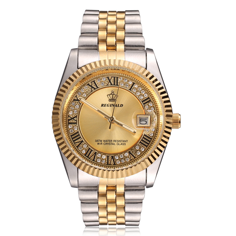 Original New 2018 REGINALD Quartz Watch Men 18k Yellow Gold Fluted Bezel Pearl Diamond Dial Full Stainless Steel Luminous Clock tiered fluted sleeve pearl beaded sweatshirt