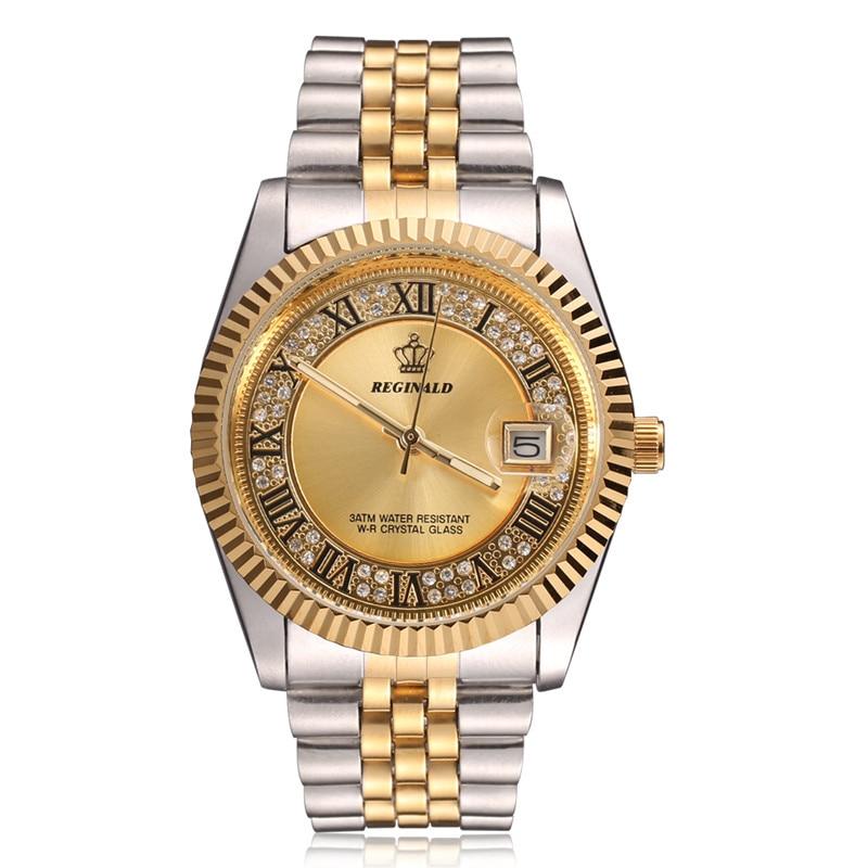 Original New 2018 REGINALD Quartz Watch Men 18k Yellow Gold Fluted Bezel Pearl Diamond Dial Full Stainless Steel Luminous Clock
