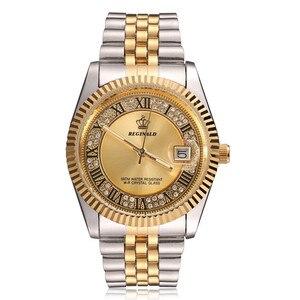 Image 1 - Original New 2020 REGINALD Quartz Watch Men 18k Yellow Gold Fluted Bezel Pearl Diamond Dial Full Stainless Steel Luminous Clock