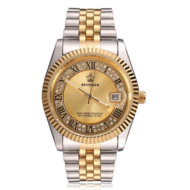 Original New 2020 REGINALD Quartz Watch Men 18k Yellow Gold Fluted Bezel Pearl Diamond Dial Full Stainless Steel Luminous Clock