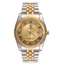 Original novo 2020 reginald relógio de quartzo masculino 18k ouro amarelo fluted moldura pérola diamante dial aço inoxidável completo relógio luminoso