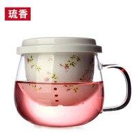 Seleucus rustic ceramic transparent tea cup high temperature flower tea set