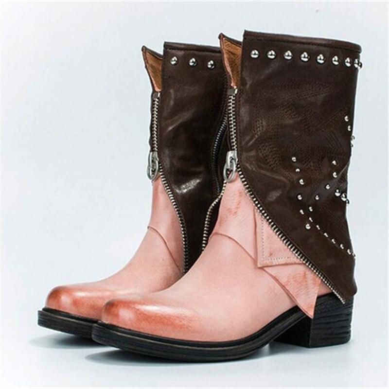 En Femme Design Bottes pink Cloutés Rivets 2019 Nouveau Automne black Lining Femmes Plush Chaussures pink Plate Noir Hiver Lining Mi Jady Caoutchouc forme Haute Rose mollet tCPqSYwa