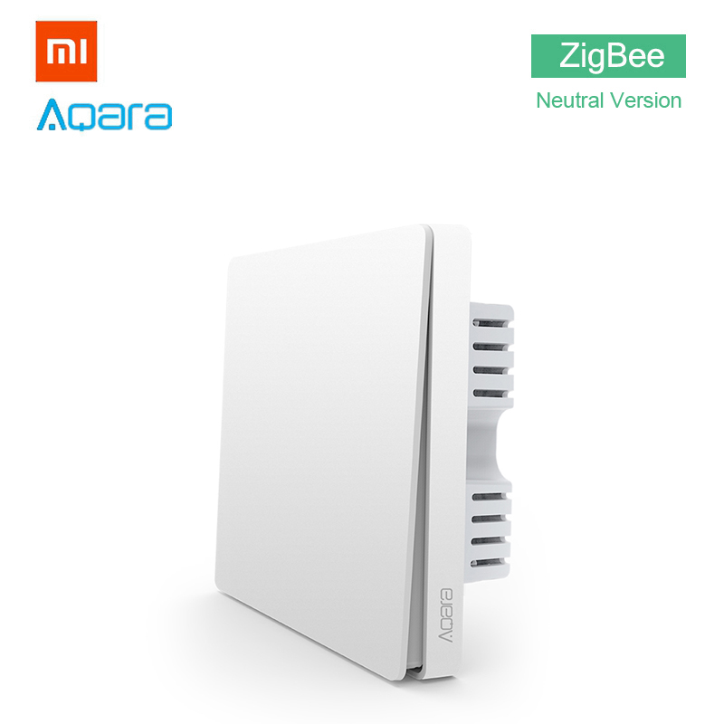 Xiaomi Aqara Wall Light Switch Home ZigBee Neutral Version Single Button Key Smart Home for Xiaomi Mi Home APP MIJIA Gateway Hub xiaomi smart home automation mijia wifi switch interruptor zigbee domotica domotique must match with xiaomi gateway to use
