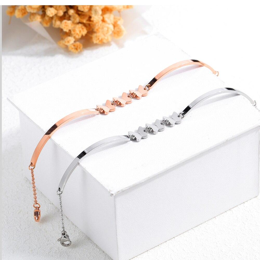 Coreano moda temperamento jóias de borboleta do aço inoxidável Titanium aço Pulseira senhora menina mel nobre acessórios - 4