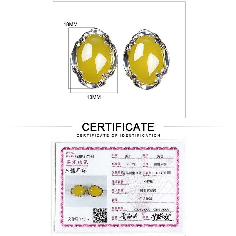JIASHUNTAI 925 boucles d'oreilles en argent Sterling calcédoine Vintage Agate jaune pierre précieuse pour les femmes boucle d'oreille Thai argent bijoux fins - 6