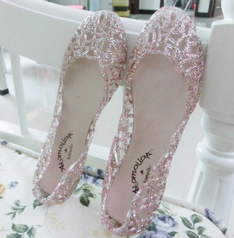 POLALI ผู้หญิงรองเท้าแตะ 2020 แฟชั่นเลดี้สาวรองเท้าแตะฤดูร้อนผู้หญิง Jelly รองเท้ารองเท้าแตะ Hollow OUT ตาข่าย 23 -25 ซม.