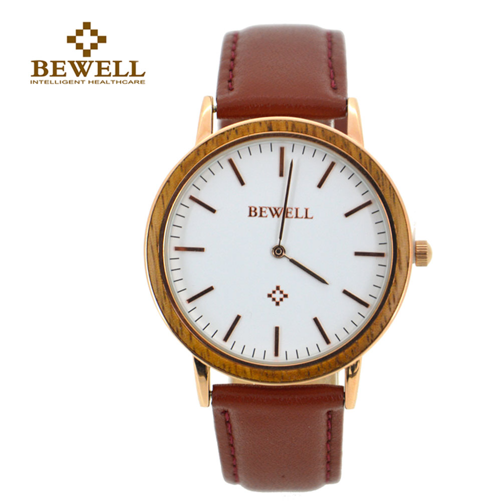 BEWELL Watches Gift Wood Quartz Classic-Style Women Casual Strap Alloy for Friend 1051A