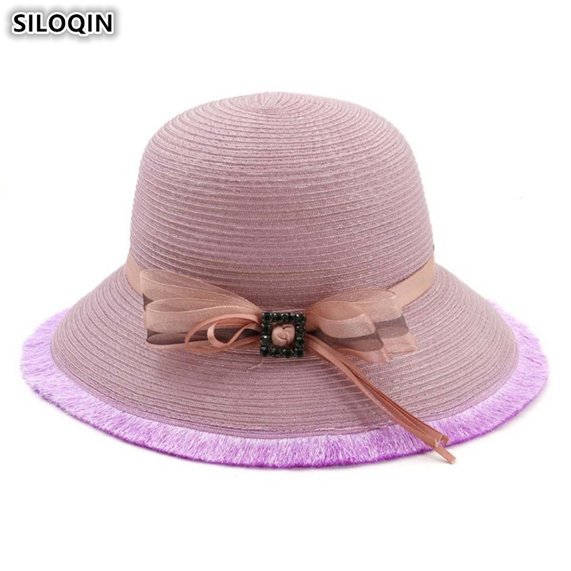 XdanqinX 2019 New Summer Breathable Womens Bucket Hats Foldable Ladies Straw Hat Elegant Fashion Women Beach Female Sunhat