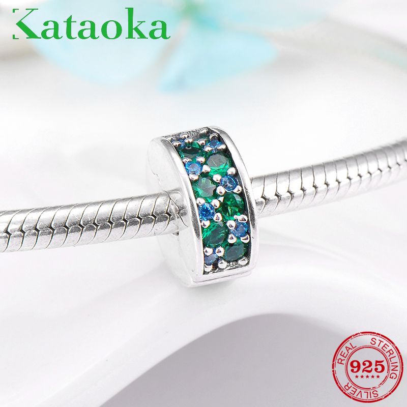 925 Silver Charms Round Shape blue and green sparking crystal CZ clips Lock Bead Fit Original Pandora Bracelet Jewelry making