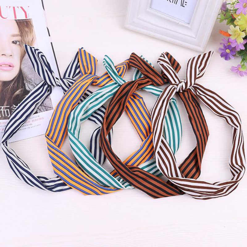 Bandas para el pelo de las muchachas de las mujeres dulces Retro Vintage Orejas de conejo flor punto rayado diademas Bandana