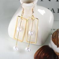 e 1190 Net red star with the earrings creative simple rectangular pearl long earrings female jewelry accessories factory direct