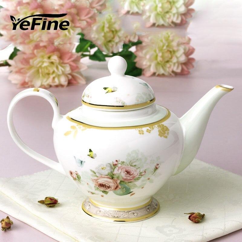 YeFine Luxury Bone China Teapot With Filter Hole 850 ML Tea Pots Ceramic Drinkware Accessories Bone