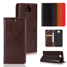 LUCKBUY For Sony Xperia XA3 XA2 XA1 XA Ultra Luxury Crazy horse Genuine Leather Business Wallet Cases for Plus