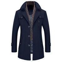 New Design Parka Men 2017 Winter Cloths Men's Fashion Brand Long Plus Cotton Coat Thick Woolen Coat Mens Jacket Wool Clothing