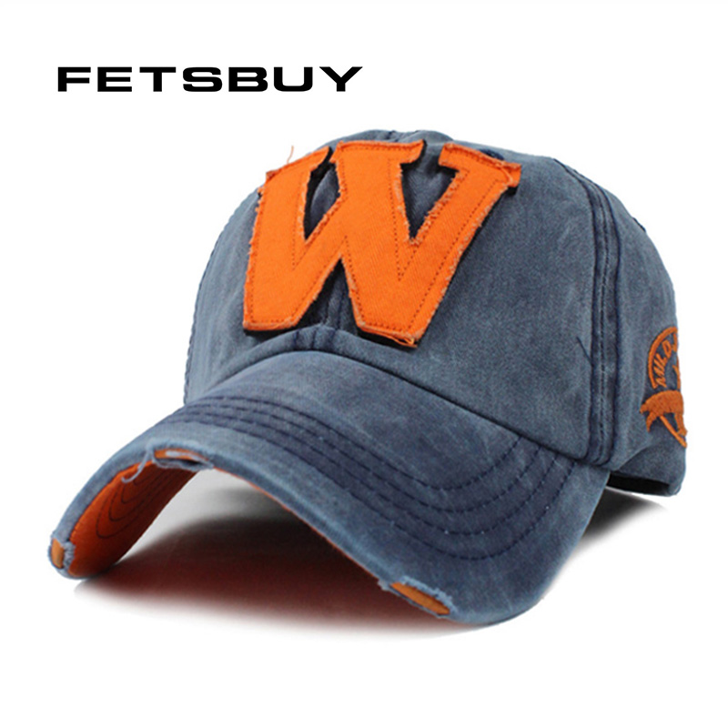 FETSBUY Wholesale New Wash Do Old Letter W Baseball Cap Autumn And Winter Snapback Fitted Hats For Women And Men Bone Gorras