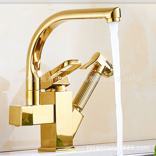 Polished Chrome Pull Out Kitchen Faucet Double Hole Kitchen Faucet with Hot Cold Water 360-degree Rotating Gun Faucet Lt894 micoe hot and cold water kitchen faucet double handle single hole 360 degree rotating faucet copper chrome mixer m hc105
