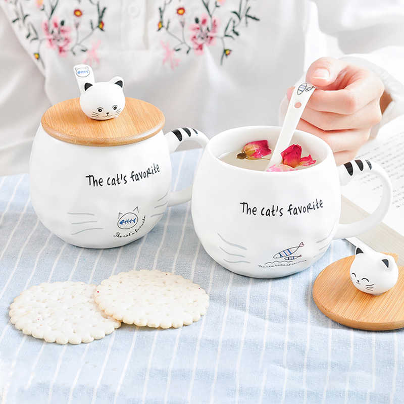 White Cat Mug With Lid and Spoon 480ml Creative Heat-resistant Ceramic Cup Cartoon Porcelain Mugs Milk Coffee Mugs Girls Gifts