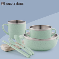 LANSKYWARE 304 Stainless Steel Tableware Set With Eco Friendly Wheat Straw Kitchen Dinnerware Set For Kids Cutlery Dinner Set