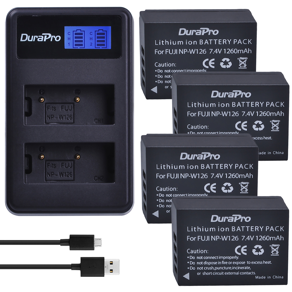 4pc NP-W126 NP W126 NPW126 Li-ion Battery + LCD USB Dual Charger For Fuji HS50 HS35 HS33 HS30EXR XA1 XE1 X-Pro1 XM1 X-T10 Camera battery charger for li 90b li 92b np bk1 li 50b cnp 150 camera battery