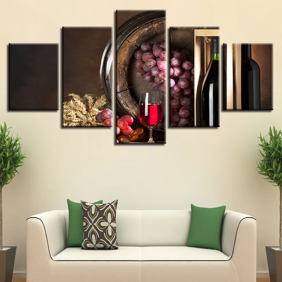 Modern Print Pictures Living Room Home Decor Wall Art 5 Pieces Grape ...
