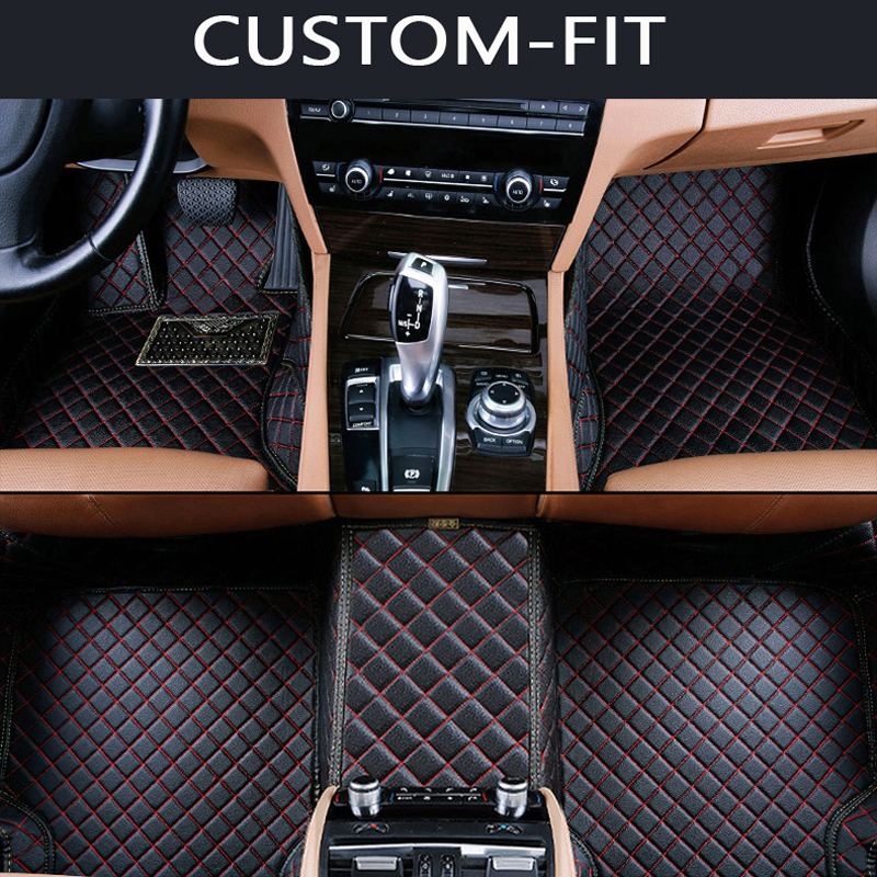 Custom fit car floor mats for Ford Edge Escape Kuga Explorer Fiesta Focus Fusion Mondeo Ecosport car styling carpet liner stainless steel stereo knob panel decorative stickers 1pcs for ford fiesta ecosport accessories