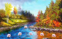 oil painting reproduction from china painting acrylic flowers landscape fabric magnolia lotus oil painting wall decoration