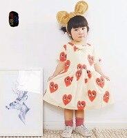 TTONCEN 패션 여름 여자 사랑 심장 패턴 파티 공주 드레스 옷 아기 코튼 브랜드