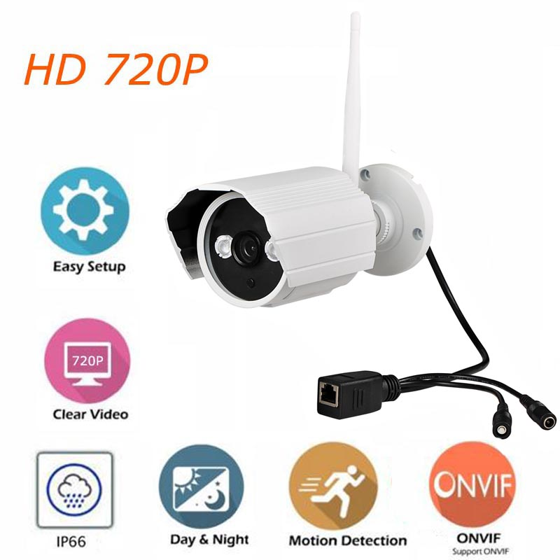 720P Outdoor Security Camera IP WiFi Waterproof Bullet Camera IR Cut Infrared Night Vision Surveillance CCTV Camera with 8GB ROM bullet camera tube camera headset holder with varied size in diameter