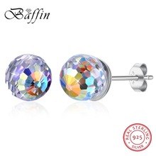 BAFFIN Classic Round Stud Earrings Ball Crystals From Swarovski S925 Silver Piercing For Women Wedding Party Daily Jewelry 2019
